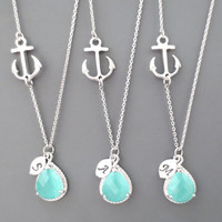 Set of 3-10,Nautical, Mint, Wedding, Necklace, Marine, Anchor, Bridesmaid, Necklace, Bridal, Jewelry, Wedding, Jewelry, Set, Necklace, Set