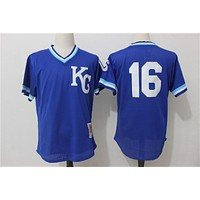 Men's Kansas City Royals Bo Jackson Mitchell & Ness Royal 1989 Authentic Cooperstown Collection Batting Mesh Practice Jersey