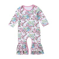 Flower Swan Baby Rompers One Piece Toddler Infant born Baby Girl Long Romper Jumpsuit Spring Summer Clothes Outfits Ruffles