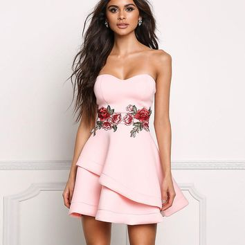 Strapless Sleeveless Short Floral Embroidery Fashion Dress