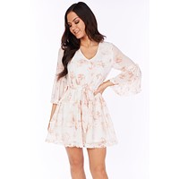 Pretty Lies Long Sleeve Floral Dress (Peach)