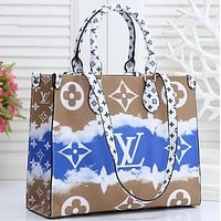 Louis Vuitton LV 2020 summer gradual tie dye printing hand bag coffee