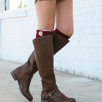 SZ 6 Very Volatile Cabernet Brown Riding Boot With Cross Strap Accents