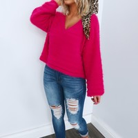 Embrace My Heart Sweater: Hot Pink
