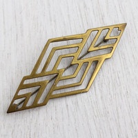 Antique Art Deco Brass Brooch - Vintage 1940s Large Statement Geometric Pin / Lines & Angles