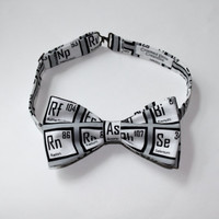 Gray Bow Tie with Chemical Elements, Pre-tied Bowtie with Adjustable Strap, Unique Periodic Elements Neck Tie in Gray with Free Shipping