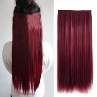 2017 Wine Red Synthetic 5 Clip In Hair Extensions Hairpiece Long Straight Natural Hair Extension 60cm Women's