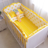 7Pcs Hot ins ! Baby Bedding Set 100% Cotton Crib Bedding Set Baby Cot Protector Safe Bumpers Bed Sheet Quilt Cover Pillowcase