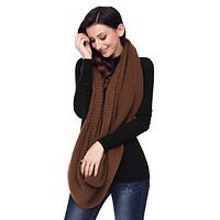 Brown Cable Knit Chunky Scarf