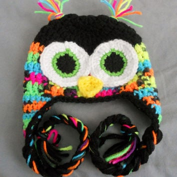Crochet Boys or Girls Owl Earflap Hat -Black and Bright Neon- Baby, Child, Adult sizes. Blacklight, fun and funky