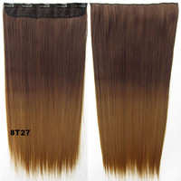 """Dip dye hairpieces New Fashion 24"""" Women Clip in on gradient wig Bath & Beauty Hair Ombre Hair Extensions Two Tone Straight hair Gradient Hair Extension Colorful Hairpieces GS-666 8T27,1PCS"""
