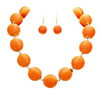 Orange & Gold Thread Ball Statement Necklace and Earring Set