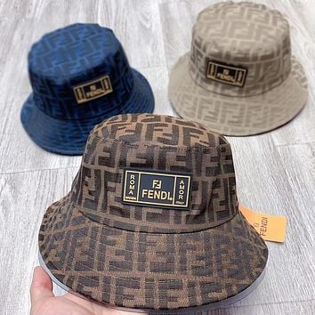 Fendi fashion FF round hat classic letters full print men's and women's bucket hats