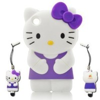 I-need Hello Kitty 3d Ipod Touch 4 Soft Silicone Case Cover Faceplate Protector with 3d Hello Kitty Stylus Pen for Itouch 4g 4th Generation, Purple
