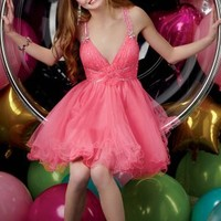 Buy Alluring A-line V-neck Mini Rhinestone Homecoming/Cocktail Dress   with 109.99-SinoAnt.com