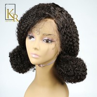 Cool 360 Lace Frontal Wig Remy Brazilian Kinky Curly Wig For Women Human Hair Front Pre Plucked Hairline Black Color King Rosa QueenAT_93_12