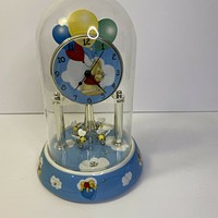 Disney Winnie the Pooh Dome Rotating Bees Mantle Clock Fantasia Flying Balloons