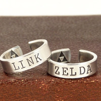 Link and Zelda Ring Set - Triforce - Best Friends - Couples Ring Set = 1930034564