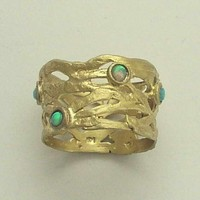 Wedding band 14k yellow gold ring with opals The by artisanlook
