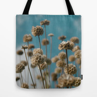 Womens Floral Art Print Tote Bag with Blue Sky and Gold Flowers Photography, Canvas Bag.