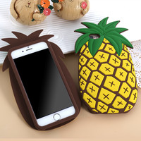 """LOVECOM New Fashion 3D Fruit Pineapple phone case cover For iPhone 6 6s 4.7"""" 6Plus 5.5"""" Soft Silicone Black cover coque Fundas"""