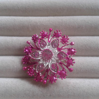 Closing sale - pink and silvertone crystal  brooch  pin