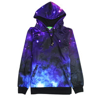 Fashion Casual Galaxy Print Scoop Neck Long Sleeve Top Sweater Pullover Sweatshirt Hoodie