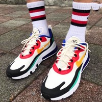 AIR MAX 270 REACT REACT REACT men and women in REACT color and platform trainers
