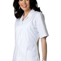 Buy Adar Women Two Pockets Lapel Collared White Scrubs Tops for $16.45