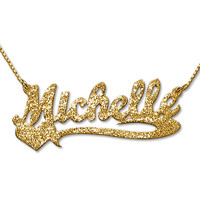 Sparkling Diamond-Cut Gold Plated Heart Name Necklace