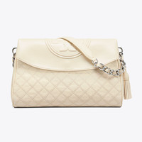 Tory Burch Fleming Distressed Leather Fold-over Hobo