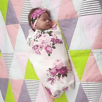 Baby Pink Floral Swaddle Blanket with matching Headband