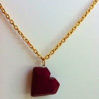 Bordeaux red Heart Shaped Necklace  FREE SHIPPING (worldwide) perfect Valentine's Day Gift