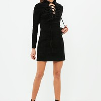 Missguided - black faux suede tie front long sleeve dress
