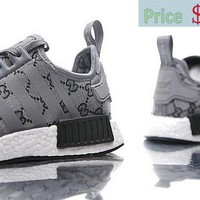 2018 How To Buy Unisex CUCCI x Adidas NMD R1 Boost Leaden Grey White BA7521 shoe