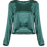 Silky Long Sleeve Top in Green