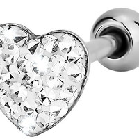 """14g 5/8"""" Surgical Steel Pave Crystalline Epoxy Heart Top Tongue Piercing Barbell"""