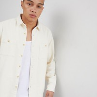 ASOS DESIGN overshirt in ecru at asos.com