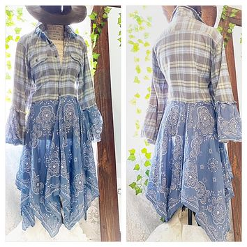 Patchwork Hippie bell sleeve duster, boho chic L