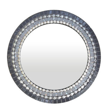Round Mosaic Mirror in Gray, Silver, Black // Modern Wall Decor // Mixed Media Mosaic