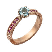 Lovely Blue Topaz and Ruby 14k Gold Engagement Ring
