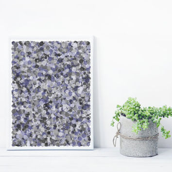 Abstract Art based on Math, inspired by Jackson Pollock. Mystic Rose, Giclee print. lavender grey Limited Edition splatter_greyPurple