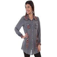 Honey Creek by Scully Embroidered Blouse w/Nail-Head Yoke- size Medium