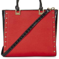 Studed Top Handle Tote Bag - Red