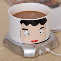 USB Power Suply Coffee Tea Mug Warmer Heating Cup Mat Pad Coasters Home Office Use Silver