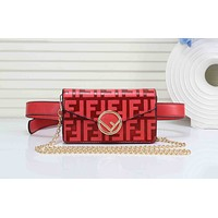Wearwinds FENDI Newest Popular Women Men Shopping Leather F Letter Purse Waist Bag Single-Shoulder Bag(5-Color) Red I-RF-PJ