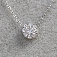 MP Micropave Setting of AAA Quality White Clear CZ Stones Thin Chain Full Pave Cluster Setting 9 in One Necklace Short Collarbone Necklace Wish Necklace Silver Color 18K Gold Plated Gift for Her ADP 0704