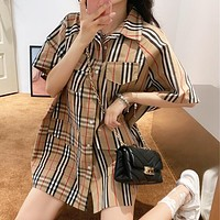 BURBERRY Summer Men Women Joining Together Stripe Plaid Short Sleeve Lapel Shirt Top Blouse