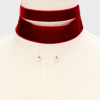 2 Piece Layered Thick Blood Red Velvet Choker Necklace