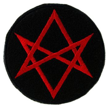 Red Unicursal Hexagram Symbol Patch Iron on Applique Alternative Clothing